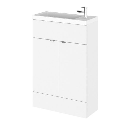Elite White Gloss 600mm Compact Vanity Unit & Basin